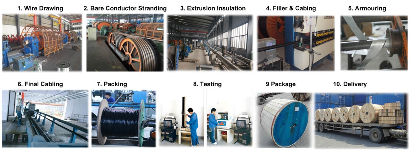 Huadong copper armoured power cable production process